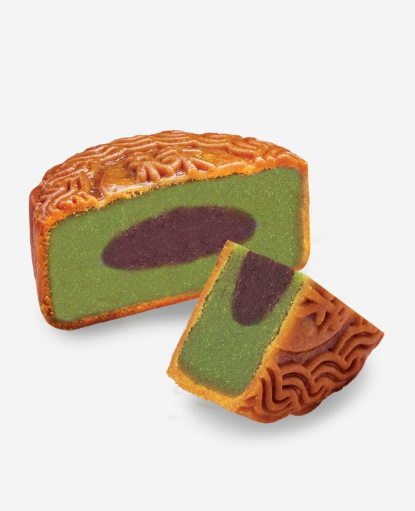 Matcha Red Bean Moon Cake 抹茶红豆月饼